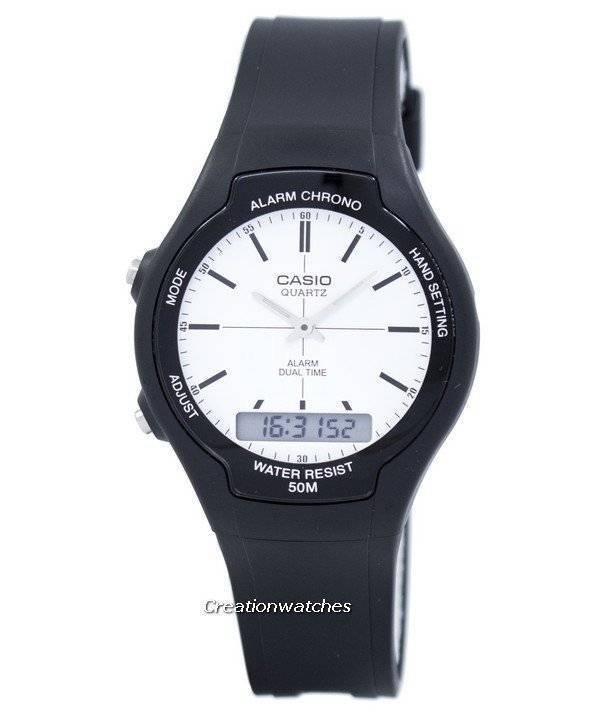1e4a89d08201 Reloj Casio Dual Time Alarm cuarzo analógico digital AW-90H-7EV AW90H-7EV