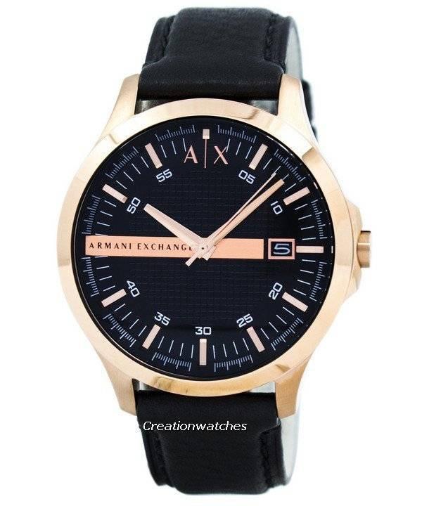 b8c6da5623d8 Reloj de hombre con correa de cuero con esfera negra AX2129 de Armani  Exchange en oro
