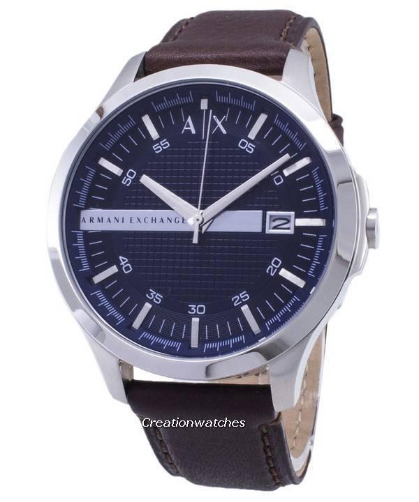 90b09356176a7 Relógio Armani Exchange, Quartz Dial da Marinha marrom couro cinta AX2133  masculino
