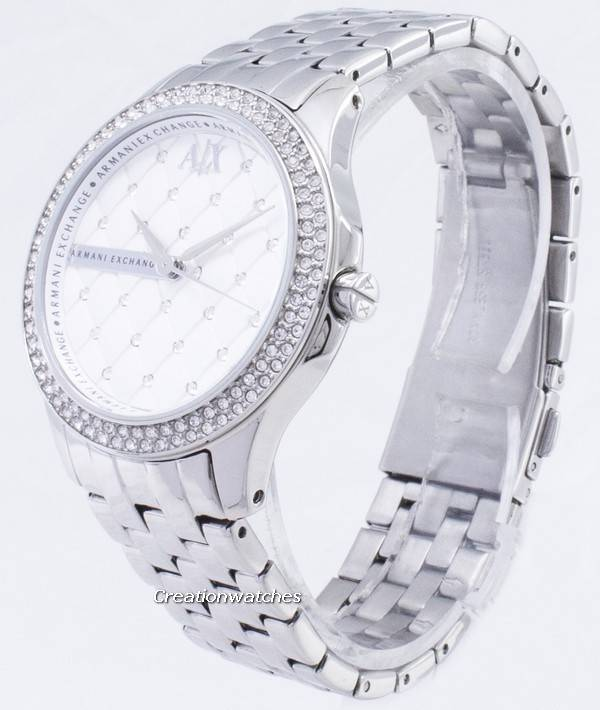 9d40b58b241a Armani Exchange Lady Hampton Silver cristales Quilted dial AX5215 reloj de  mujer