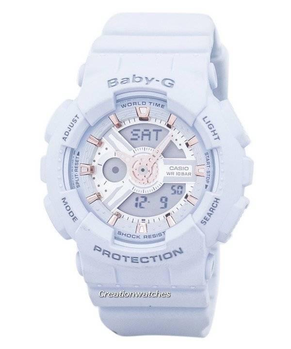 5188018122e Relógio Casio Baby-G mundo tempo alarme Analógico Digital BA-110GA-8A  feminino