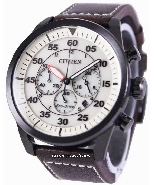 94ada380f98 Relógio Citizen Eco-Drive aviador cronógrafo CA4215-04W masculino pt