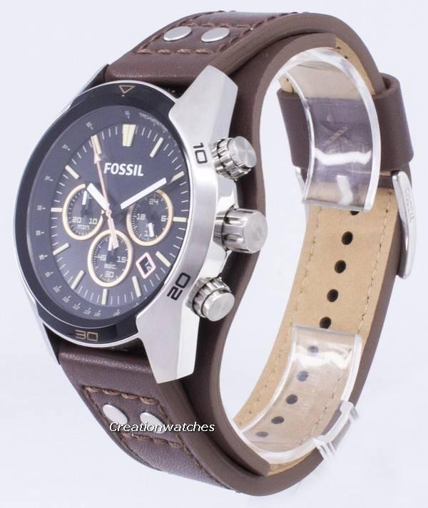4db9df9bde51 Reloj Fossil Coachman cronógrafo con esfera negra y cuero marrón CH2891  para hombres