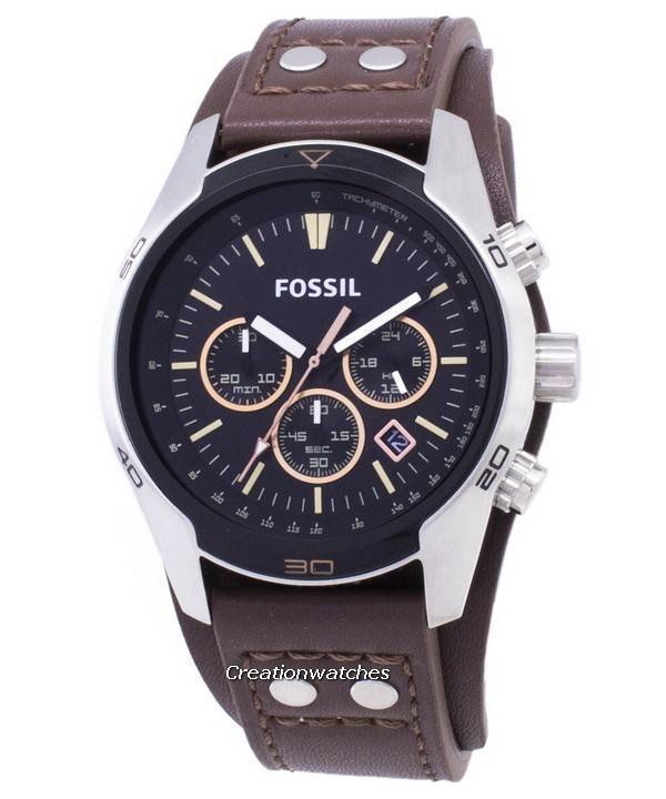 b8fa7e2422ade Fossil Coachman Chronograph Black Dial Brown Leather CH2891 Men s Watch