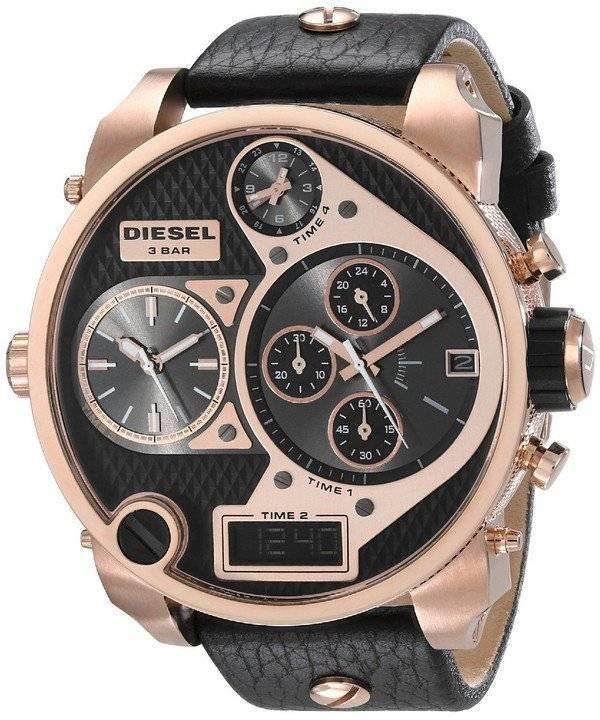 390cc1f2d050 Diesel Mr. Daddy cronógrafo negro Dial cuero correa DZ7261 reloj de  caballero