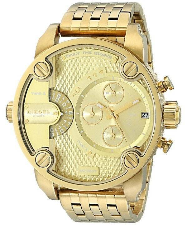 Diesel Little Daddy Chronograph Gold Tone DZ7287 Men's Watch - Click Image to Close