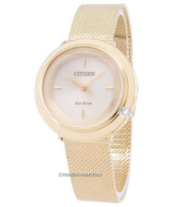 30836fda7d8 Relógio L de Citizen Eco-Drive EM0642 - 87P analógico diamante acentos  feminino