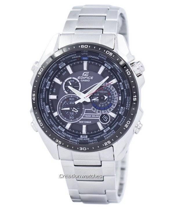 7c210c98e82f44 Casio Edifice Chronograph solaire dure monde temps EQS-500DB-1 a 1 EQS500DB-
