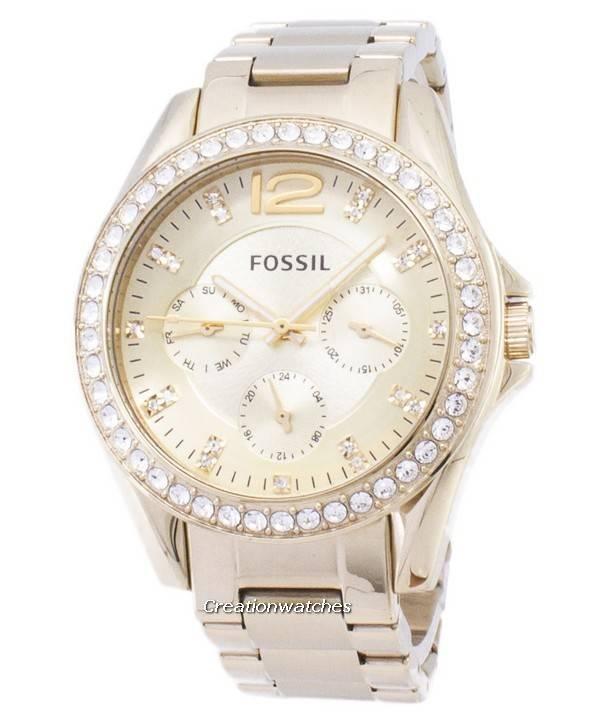 c3fcd7fa2 Fossile Riley multifunksjon gull Tone Crystal ekstern ES3203 kvinners klokke
