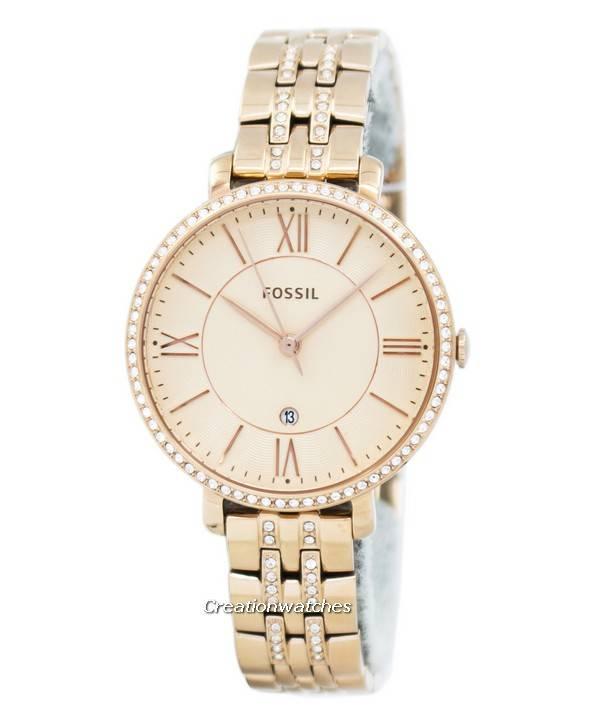f5cbbd4a6 Fossil Jacqueline Quartz Rose Gold Crystals Accents ES3546 Women's Watch