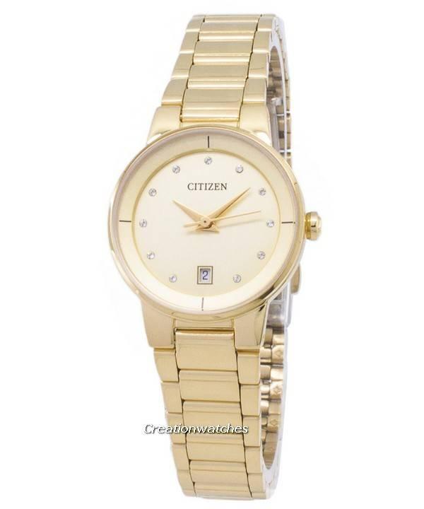 ccee3f58ce3 Citizen automático EU6012 - 58P diamante acentos relógio analógico feminino