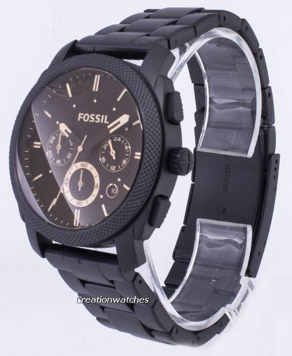 Chronograph Noir Hommes Montre Moyenne Fossile Ip Machine Inox Fs4682 Taille qVzUpGMS