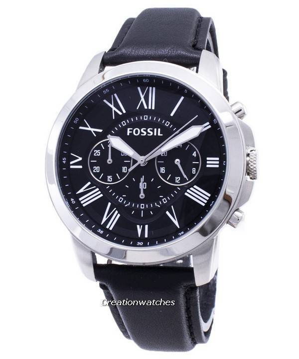 892f04326 Fossil Grant Chronograph Black Leather Strap FS4812 Men's Watch