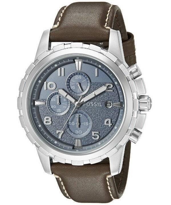 a39db051750 Relógio fóssil Dean Cronógrafo Quartz couro marrom escuro cinta FS5022  masculino