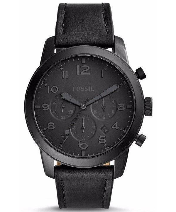 28b7b9f98638 Reloj Fossil Pilot 54 Cronógrafo Cuarzo Negro Correa de cuero FS5157 para  hombre