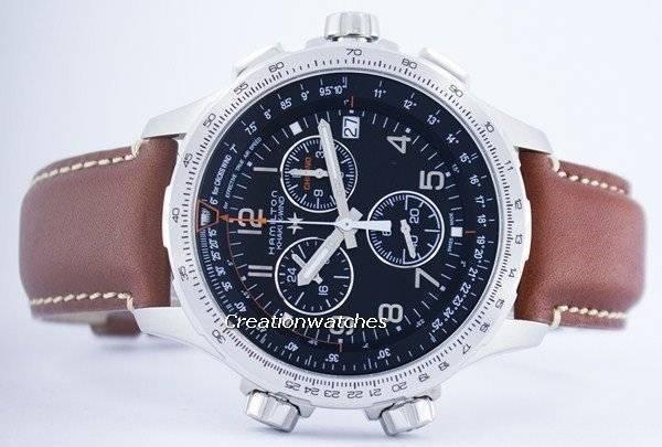 378ac1adba8 Hamilton aviação caqui X-vento Cronógrafo Quartz GMT Swiss Made relógio  H77912535 masculino