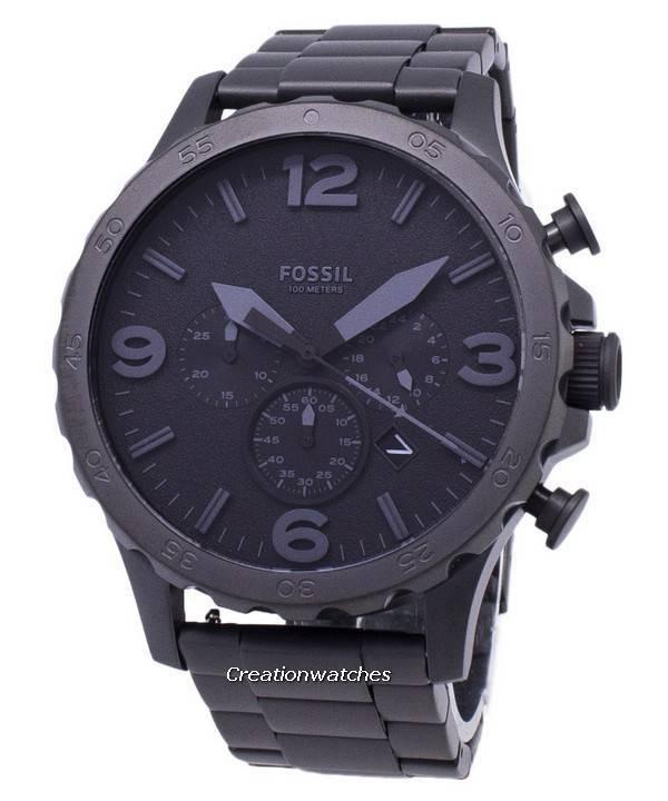 ef7f9fb40a38 Reloj Fossil Nate Cronógrafo Negro Dial Negro Ion chapado en hombres JR1401