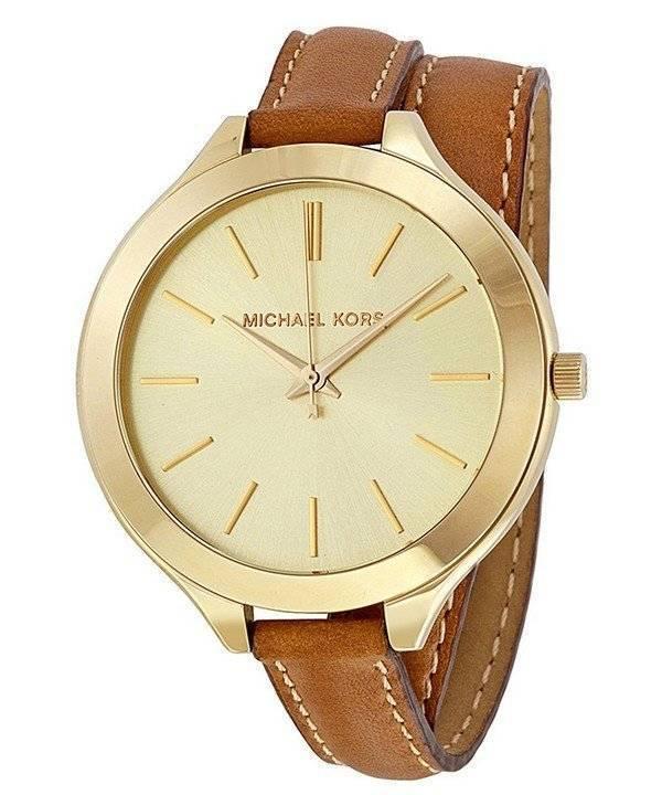 Michael Kors διάδρομο σαμπάνια Dial Tan δέρμα MK2256 γυναικείο ρολόι el 8cfe339e0be