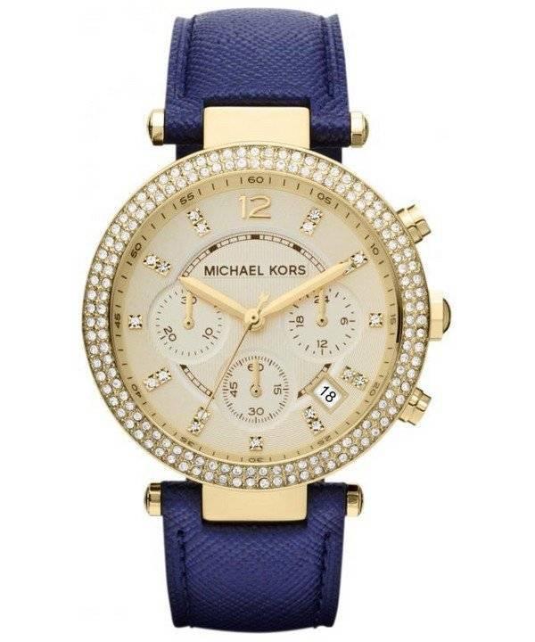 88346dc3103 Michael Kors Chronograph Parker marineblå læder rem MK2280 kvinders ...