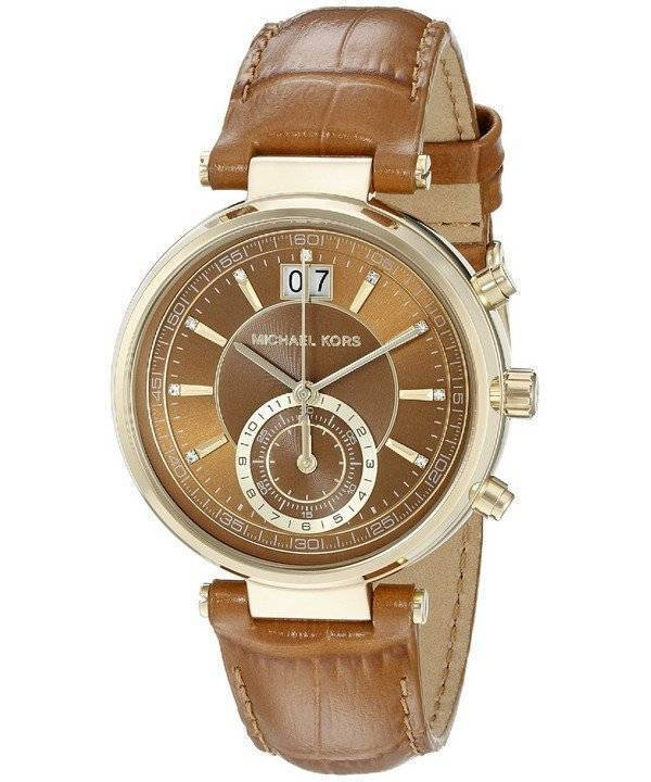 be3c2339970e1 Michael Kors Sawyer Chronograph Amber Sunray Dial MK2424 Womens Watch de