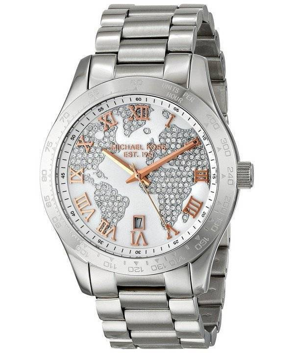 5df3ddefcdf4 Michael Kors Layton Engraved Map Crystal Pave Dial MK5958 Women s Watch