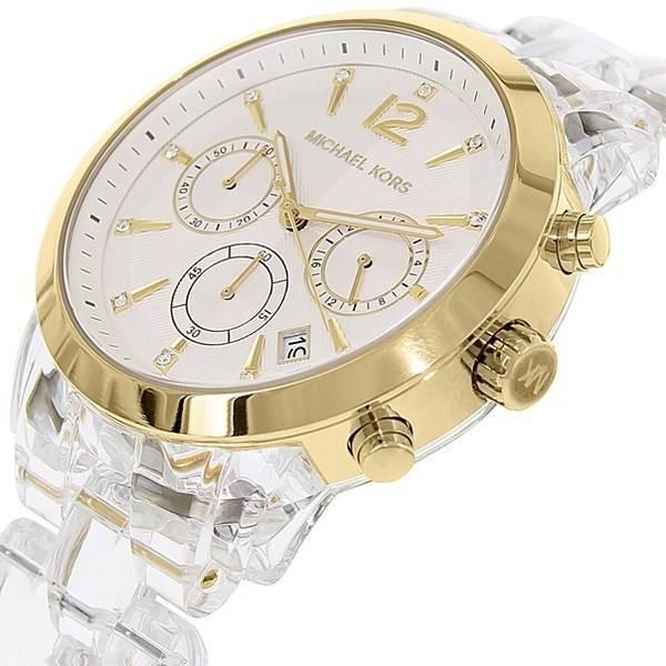 Michael Kors Cronógrafo Audrina acetato claro pulsera MK6200 reloj de  mujeres a6abdc6ca5