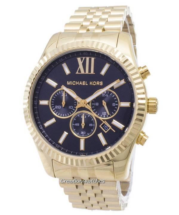 451d94cfd4a47 Reloj Michael Kors Lexington Chronograph Dial negro dorado MK8286 de los  hombres
