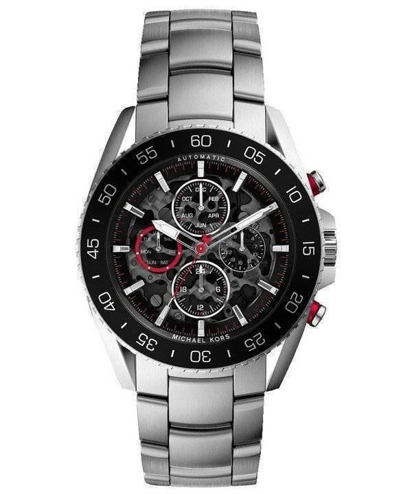 Michael Kors Jetmaster Automatic Transparent Dial MK9011 Mens Watch