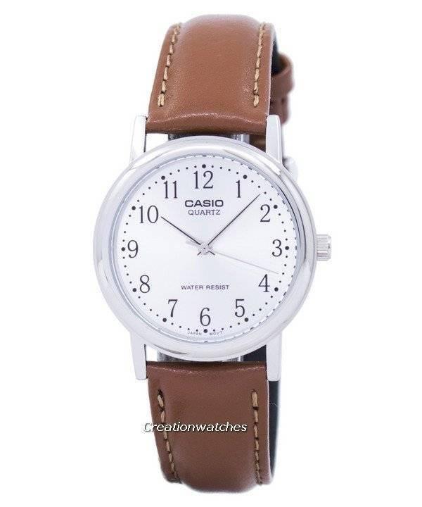 d1028f8dce6 Relógio Casio Quartz Dial Prata couro marrom MTP-1095E-7BDF masculino pt