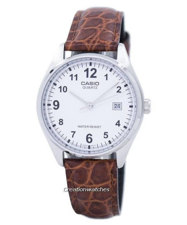 Hombre Marrón 1175e 7bdf Mtp1175e Reloj Blanca De Esfera Cuarzo Mtp Correa Casio Cuero Para lcT1KJF3