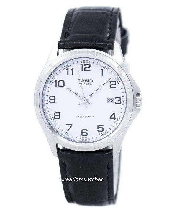 ecd8e20edec Relógio Casio Quartz analógico mostrador branco preto couro MTP-1183E-7BDF  MTP-1183E