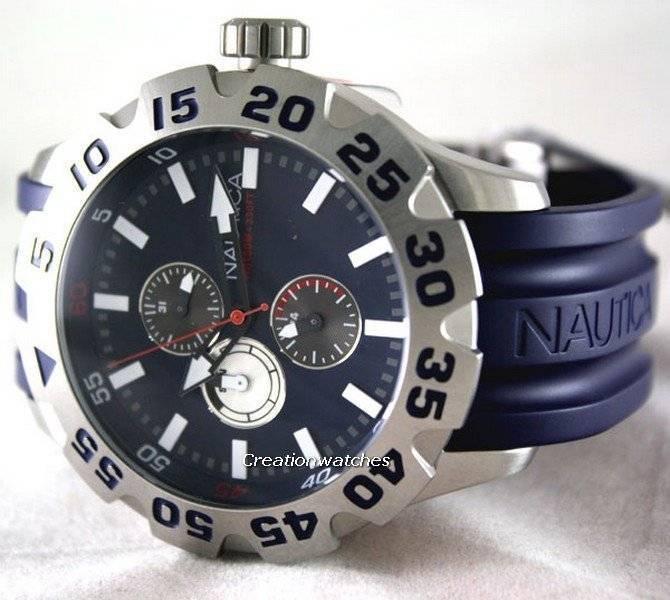 22ce1871f23 N15578G BFD 100 multifuncional azul marinho resina relógio Nautica masculino