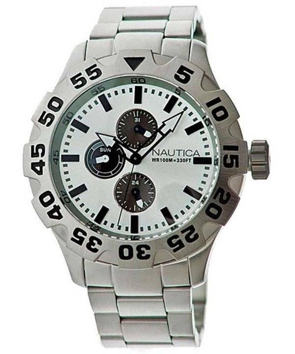 2190e5da91d Relógio Nautica mostrador prateado multifunções N20094G masculino pt