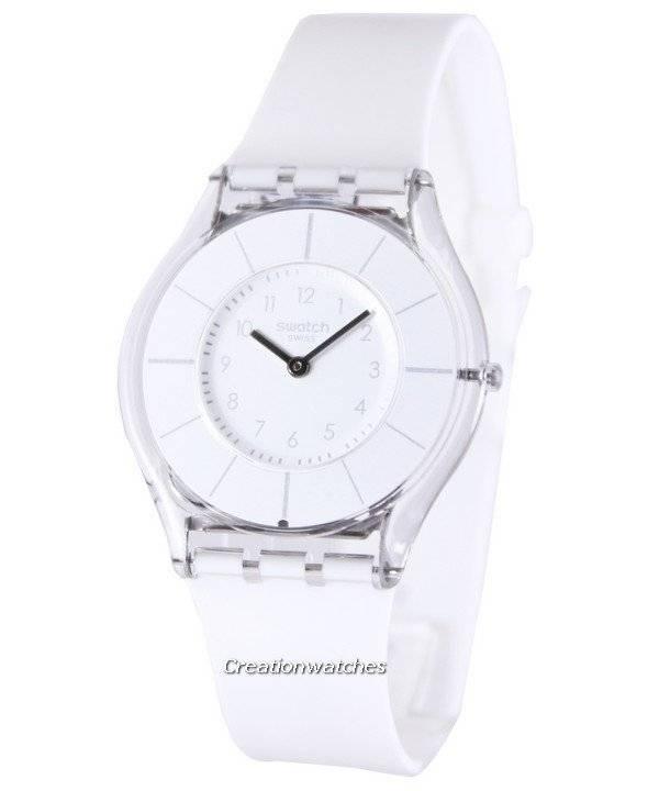 9e87e200156 Relógio Swatch clássico requinte branco quartzo suíço SFK360 feminino pt