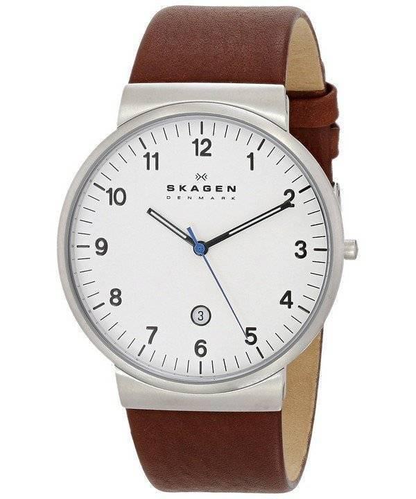 e376a31846f1b Relógio Skagen Ancher couro marrom Strap SKW6082 masculino pt