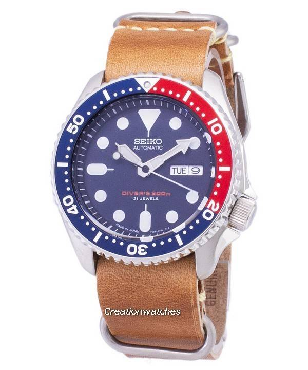 5a2e9d48fcd0 Seiko Automatic SKX009J1-LS18 Diver s 200M Japan Made Brown Leather Strap  Men s Watch