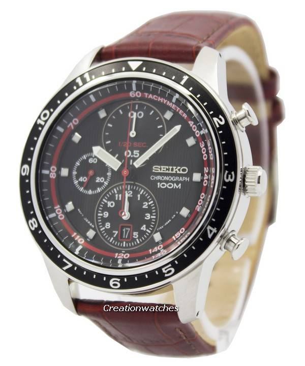 436f4f622 Seiko Chronograph Brown Leather Strap 100M SNDF45 SNDF45P1 SNDF45P Men's  Watch