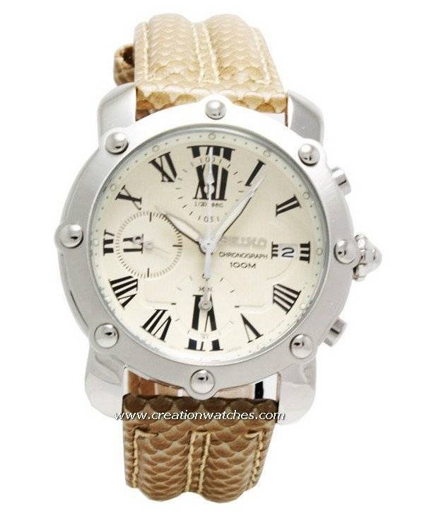 Seiko Men's Chronograph Cream Dial Watch SNDZ93P1 SNDZ93 - Click Image to Close