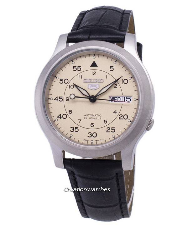 Seiko 5 στρατιωτική Ανδρικά SNK803K2-SS1 αυτόματο μαύρο δερμάτινο λουρί  ανδρών ρολόι 5d9021cd860