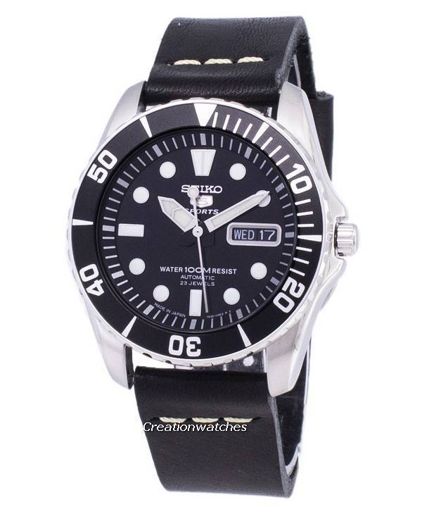 release date: 7b672 ad286 Seiko 5 Sports SNZF17J1-LS14 Automatic Japan Made Black Leather Strap Mens  Watch