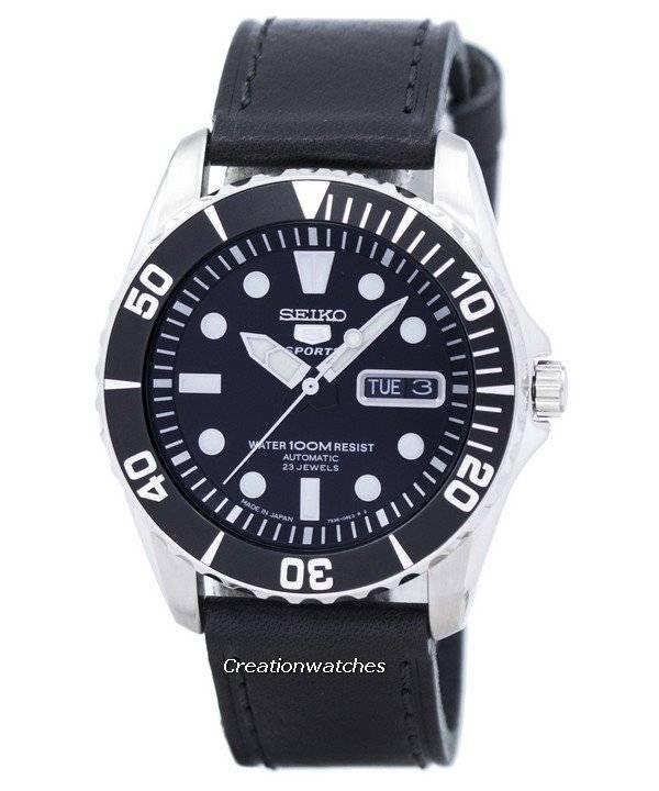 2ae3aa069 Reloj para hombre Seiko 5 Sports Automatic 23 Jewels Ratio cuero negro  SNZF17J1-LS8