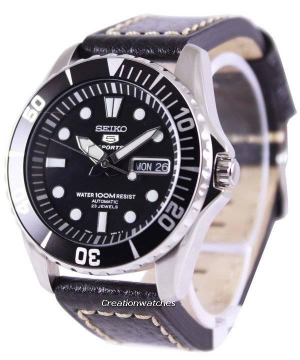 fa3b752b40e Relógio Seiko 5 Sports automático relação couro preto SNZF17K1-LS2 masculino