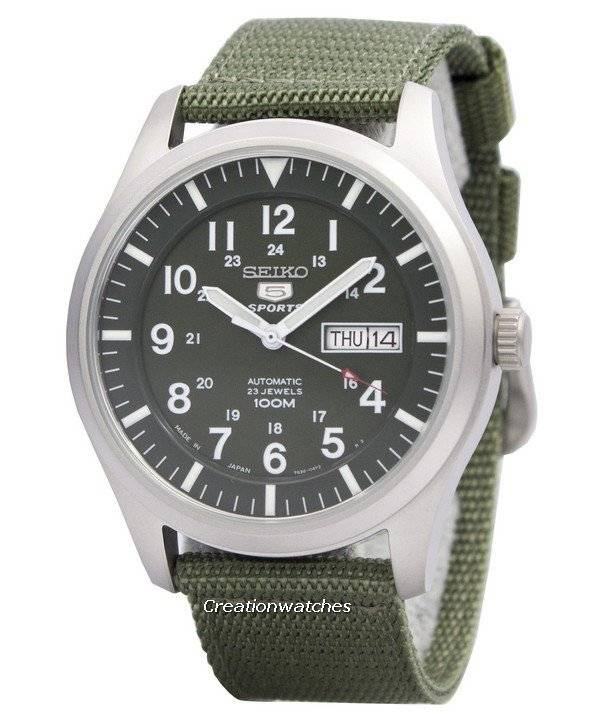 ca00f7dd726 Seiko 5 Military Automatic Sports Japan Made SNZG09 SNZG09J1 SNZG09J Men s  Watch
