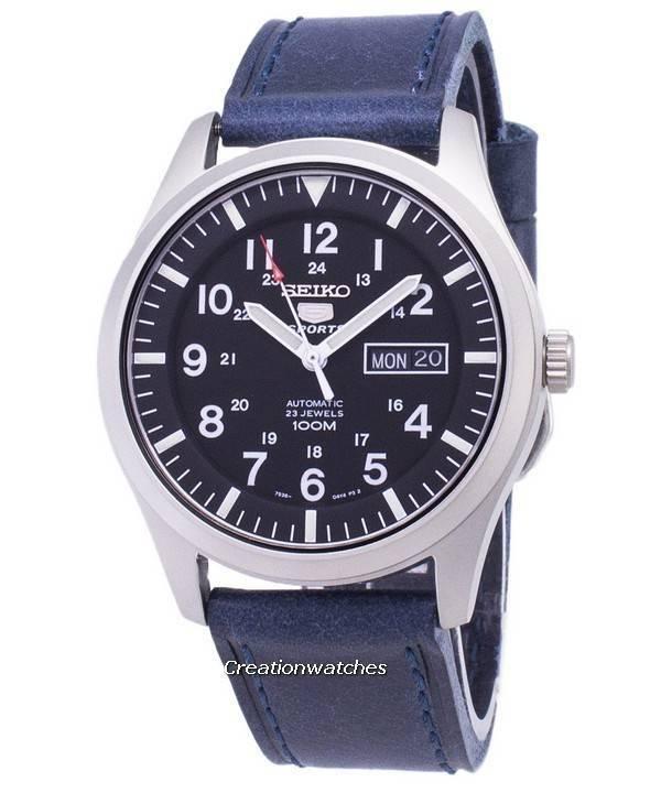 94f893783e0 Relógio Seiko 5 Sports SNZG15K1-LS13 automático couro azul escuro cinta  masculina