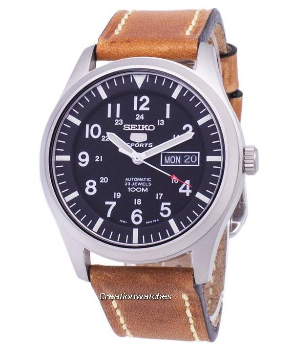 451311007 Seiko 5 Sports SNZG15K1-LS17 Automatic Brown Leather Strap Men's Watch