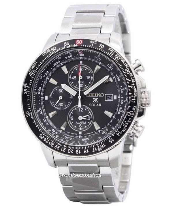 50493dcb6 Seiko Pilot's Solar Alarm Chronograph Flightmaster SSC009 SSC009P1 SSC009P Men's  Watch
