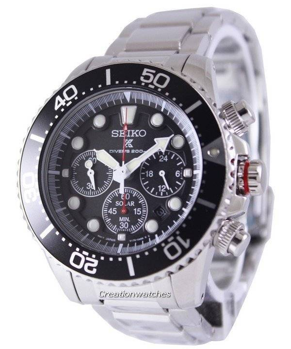 Seiko Solar Chronograph Divers SSC015 SSC015P1 SSC015P Men s Watch f5a155a317