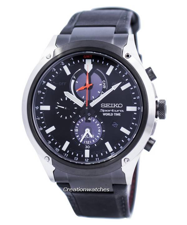 a7775a71ff5 Relógio Seiko Sportura mundo tempo Solar Chronograph SSC483 SSC483P1  SSC483P masculino