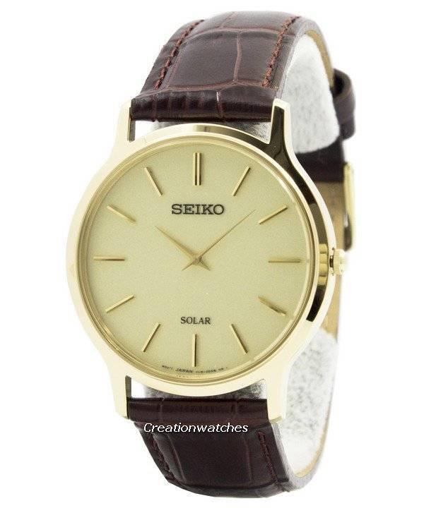 Relógio Seiko Solar tom dourado couro cinta SUP870P1 SUP870P dos homens 290804bcf9