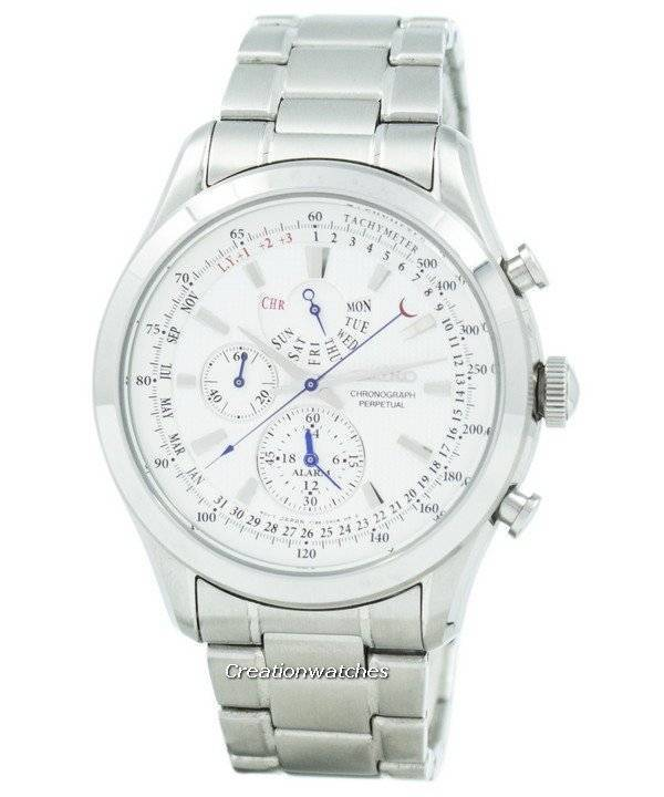 Image result for SEIKO chronograph alarm men watch white dial silver stainless steel belt SPC123P1